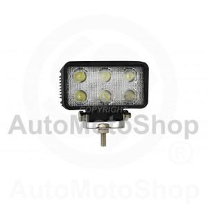 LED Darba lampa 18W 12-60V IP67 E9 Aluminium 111x61x55mm 6000K SUPERWHITE