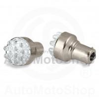 LED Auto Spuldze 12V BA15s 12xdiode (balta gaisma) 2gb