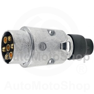 Original Trailer Connector Plug 7 Poly 12V DIN / ISO Hella (Germany) Metal Case 8JA 001 918-002