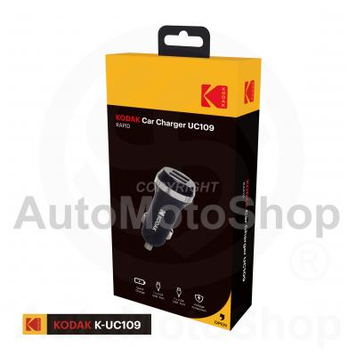 Auto ātrais lādētājs 1x USB QC3.0 1x USB 5V 2.4A. Kodak UC109