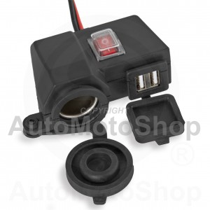 Motorcycle Power Jack on the steering wheel x1socket + USB + switch